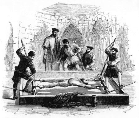 Torturing a prisoner on the rack, Middle Ages.